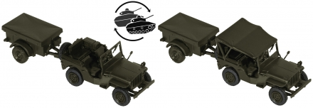 Roco 05045 H0 Minitank Willys Jeep + M 100 der US-Army